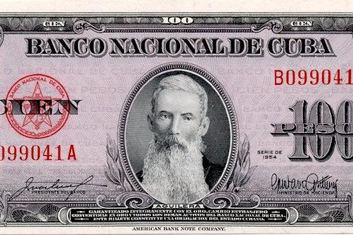 1954 CUBA 100 PESOS UNCIRCULATED SUPER GRADO ESCASO.