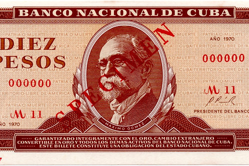 CUBA 10 PESOS SPECIMEN 1970 MAXIMO GOMEZ.UNC.SIN CIRCULAR