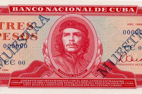 CUBA 1984 MUESTRA 3 PESOS SUPER CONDICION UNC ESCASO BILLETE