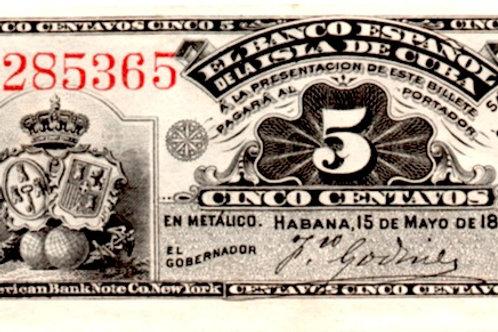CUBA 1896 EL BANCO ESPAÑOL DE LA ISLA DE CUBA 5 CENTAVOS UNCIRCULA