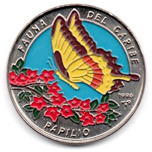 1 PESO 1996 CUBA FAUNA DEL CARIBE PAPILIO UNCIRCULATED
