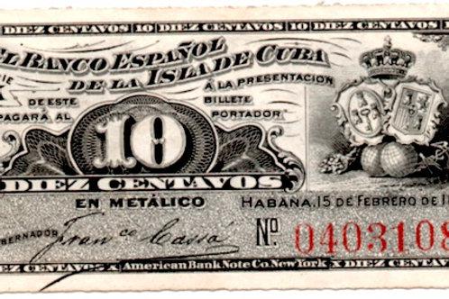 1897 EL BANCO ESPAÑOL DE LA ISLA DE CUBA 10 CENTAVOS