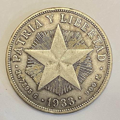 1 peso 1933 cuba Plata.