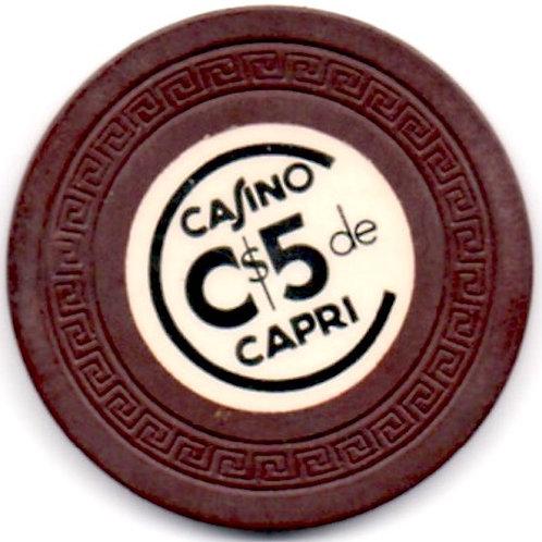 CUBA 1950s FICHA C$5 de casino Capri en La Habana SCARCE RARE.,