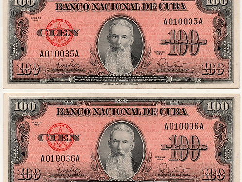 1959 CUBA 100 PESOS LOT OF 2 BILLS # SERIES RARO CONSECUTIVOS AGUILERA