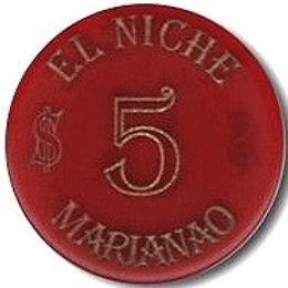 CUBA Casino El Niche Marianao $ 5 PESOS Burgundy HABANA MARIANAO.