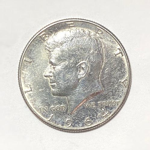 1964 John F. Kennedy US Half Dollar, 50 Cents, .900 Silver