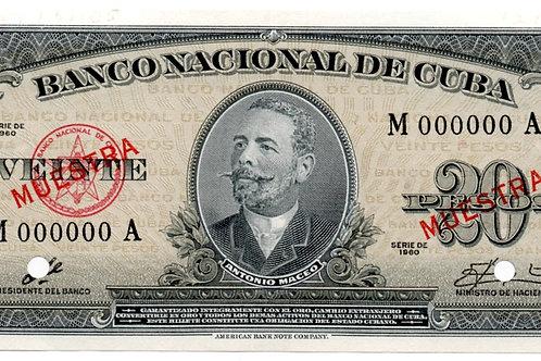 CUBA MUESTRA 1960 FIRMA CHE BANCO NACIONAL DE CUBA UNC #000000.