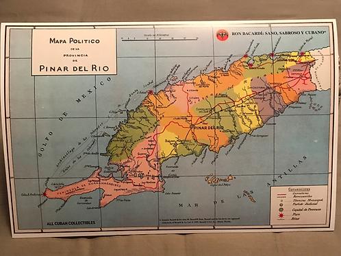 RON BACARDI Mapa Provincia De Pinar Del Rio, Cuba.