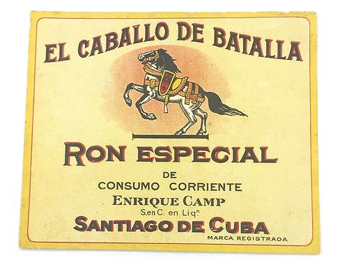1950s SANTIAGO DE CUBA RON ESPECIAL EL CABALLO DE BATALLA LABEL, LUGGAGE