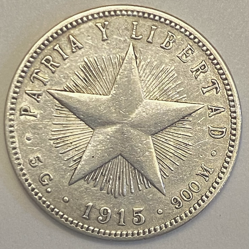 20 centavos cuba 1915 silver.