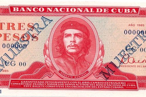 CUBA 1985 MUESTRA 3 PESOS SUPER CONDICION UNC ESCASO B