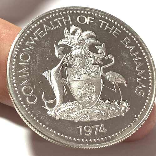 1974 The BAHAMAS Islands TWO FLAMINGOS Vintage Proof Silver 2 Dollar Coin unc.