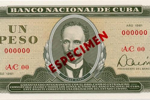 1981CUBA 1 PESO SPECIMEN UNCIRCULATED