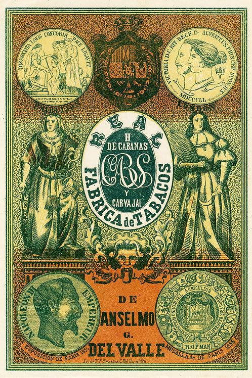 1870S CUBA CABAÑAS Y CARVAJAL CUBAN CIGAR LABEL
