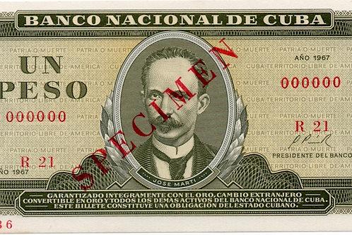1967 CUBA 1 PESO SPECIMEN UNCIRCULATED
