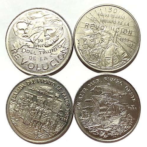 CUBA LOT 4 COIN 1 PESO 1989 -1990 SIN CIRCULAR