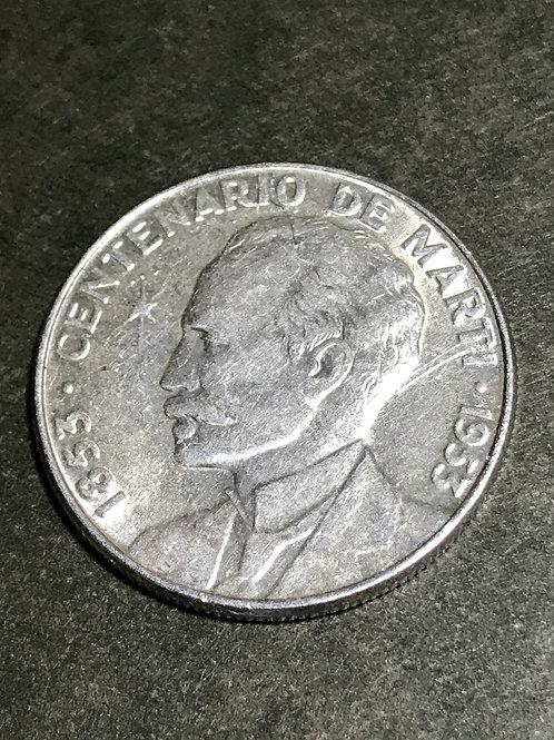 Cuba 50 centavos 1953 Silver centenario de marti.