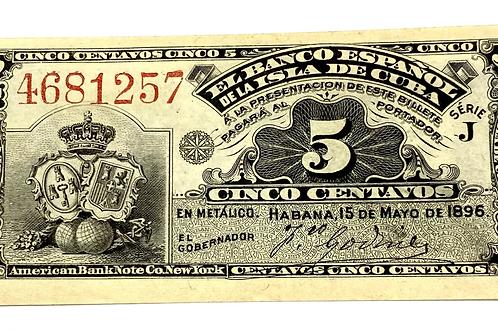 CUBA 5 centavos SIN PLATA UNC COLONIAL ES BANCO ESPAÑOL DE LA ISLA DE CUBA