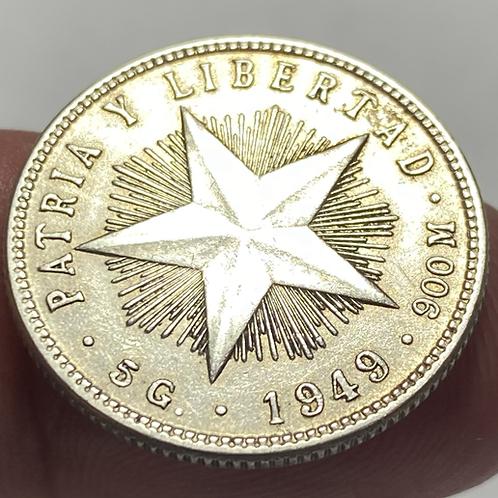 Cuba 1949 silver 20 centavos súper condición #0017