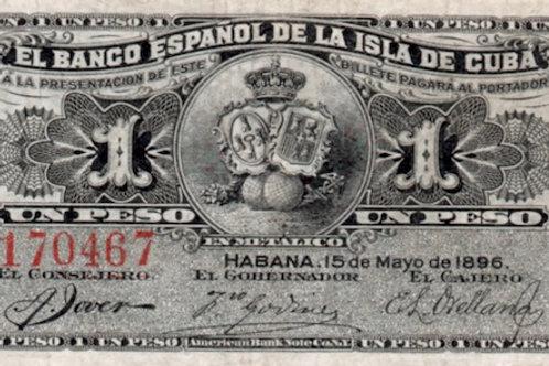 1 peso cuba banco español de la isla de cuba 1896