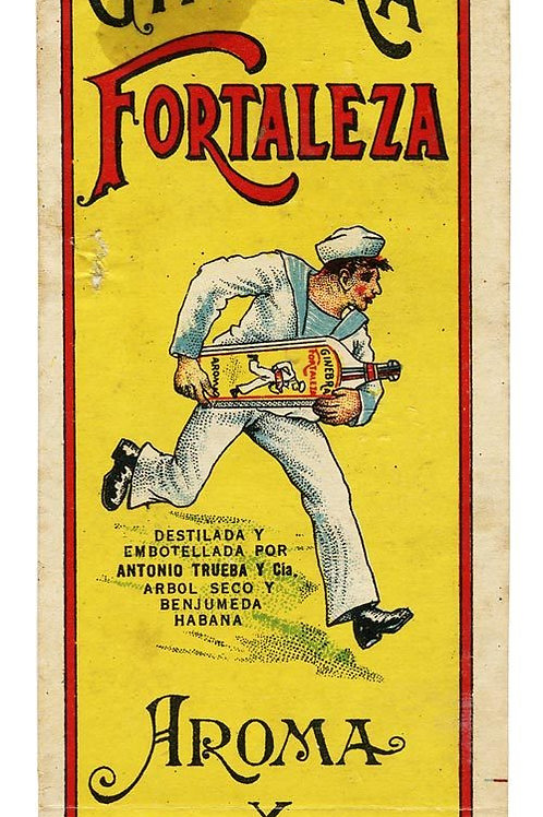 1930S CUBA GINEBRA FORTALEZA LIQUOR LABEL
