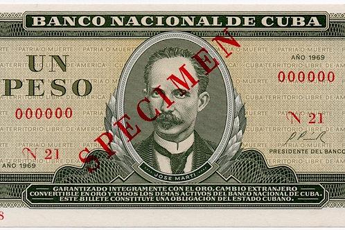 1969 CUBA 1 PESO SPECIMEN UNCIRCULATED