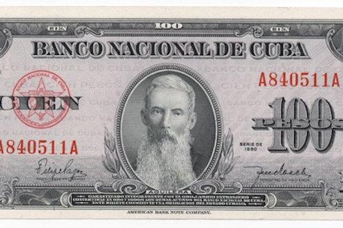"""1950 CUBA 100 PESOS AGUILERA.  """"1950"""""""