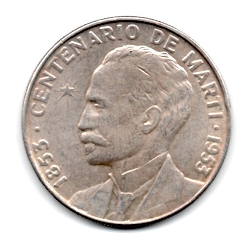 CUBA 1 PESO SILVER 1953 CENTENARIO CONMEMORATIVO JOSE MARTI.
