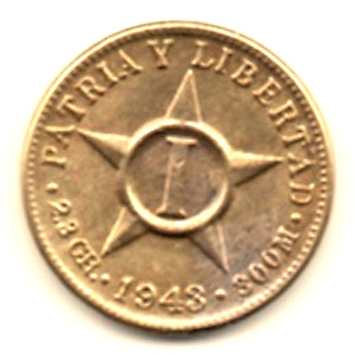 1943 CUBA 1 CENTAVO.