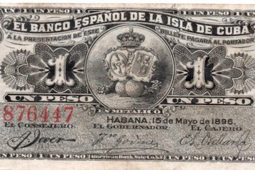 1896 CUBA EL BANCO ESPAÑOL 1 PESO SERIE G