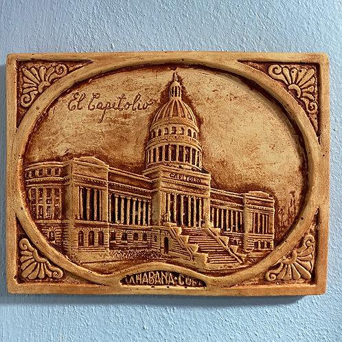 """CAPITOLIO CUBA CUADRO A RELIEVE 6""""x 4""""1/2 CERAMIC HABANA CUBA."""