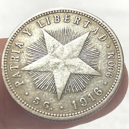 CUBA 20 CENTAVOS 1916 SILVER #0021