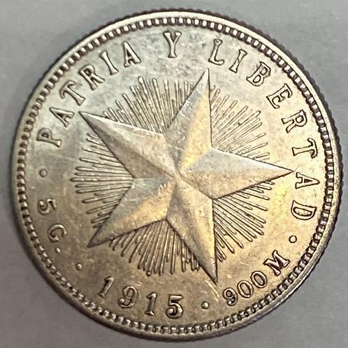CUBA 1915 SILVER 20 CENTAVOS  DE PLATA AÑO ESCASO.
