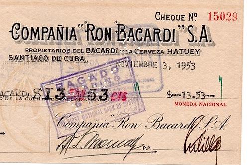 CUBA RON BACARDI SANTIAGO DE CUBA EXPRESO PAREDES 1953 #1529