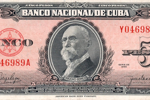 CUBA 5 PESOS 1950 # SERIES ROJO FELIPE PAZOS