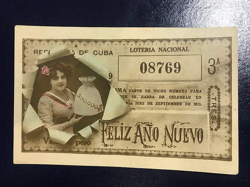 1909 postcard promoting the national lottery of the Republic of Cuba , very rare