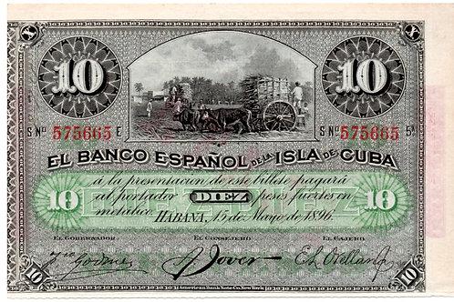 1896 CUBA 10 PESOS EL BANCO ESPAÑOL CUÑO PLATA UNCIRCULATED.