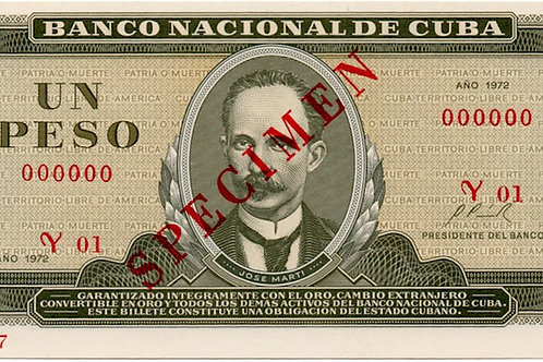 1972 CUBA 1 PESO SPECIMEN UNCIRCULATED