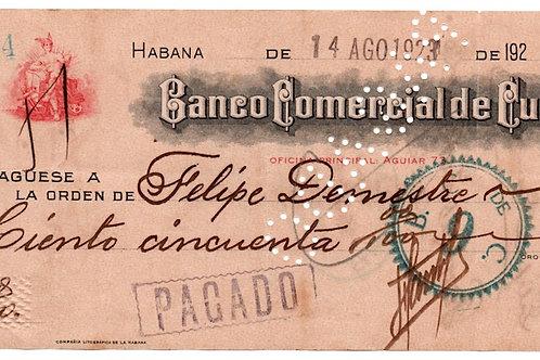 HABANA BANCO COMERCIAL DE CUBA CHEQUE 14 DE AGOSTO 1923 #4534