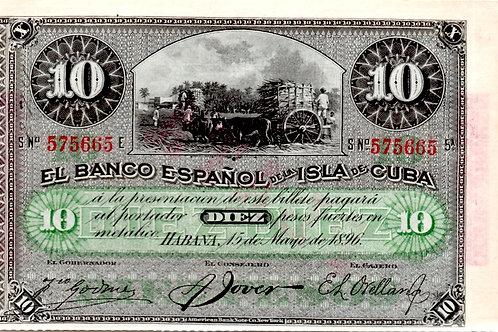 CUBA 1896 COLONIAL 10 PESOS CUÑO DE PLATA LISTO PARA CERTIFICAR.