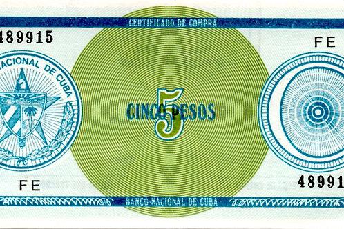 CUBA 5 PESOS FE C BOLA CERTIFICADO DE COMPRA