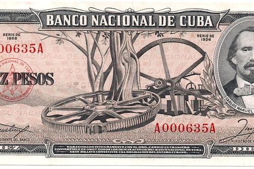 1956 CUBA 0 PESOS ## LOW UNCIRCULATED SCARCE .