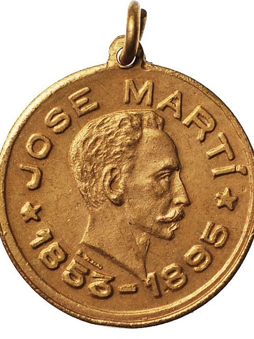 1950s Cuba National Heroe Jose Marti Medal. Measures 0.8 inches of diameter.