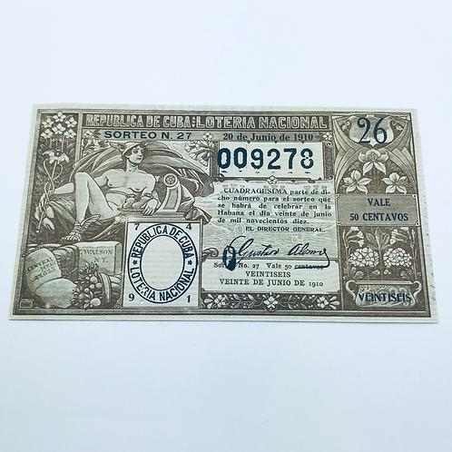 1910 CUBA LOTERIA NACIONAL SORTEO #27