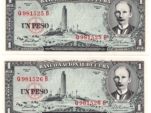 1 PESO LOT OF 2 BILLS # SEQUENCE CUBA 1958 JOSE MARTI UNCIRCULATED VERY SCARCE.