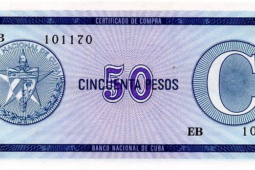 CUBA 50 PESOS SERIAL C CERTIFICADO DE COMPRA SCACE DIFICIL