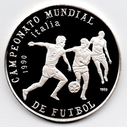 1989 CUBA CAMPIONATO MUNDIAL DE FULBOL 1990 ITALIA SILVER PROOF 5 PESOS