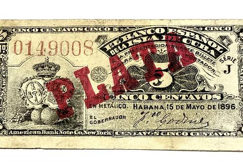 CUBA 5 CENTAVOS 1896 CUÑO DE PLATA