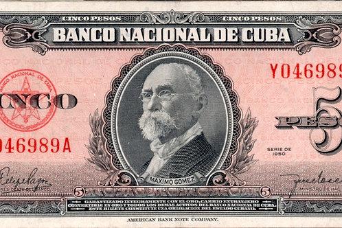 CUBA 5 PESOS 1950 # SERIES ROJO